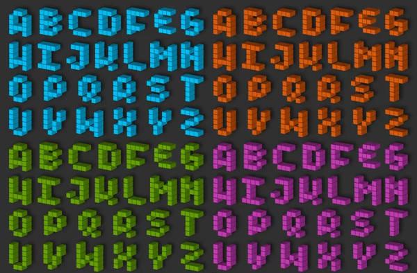 3D Pixel Alphabet Set