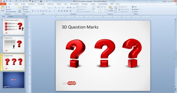 3D Question Mark Powerpoint Presentation