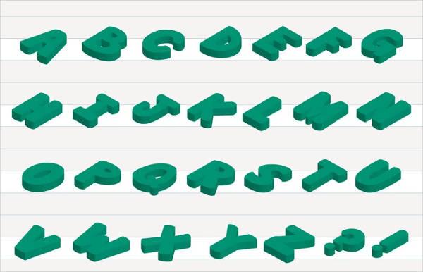 3D Vector Alphabet Letters
