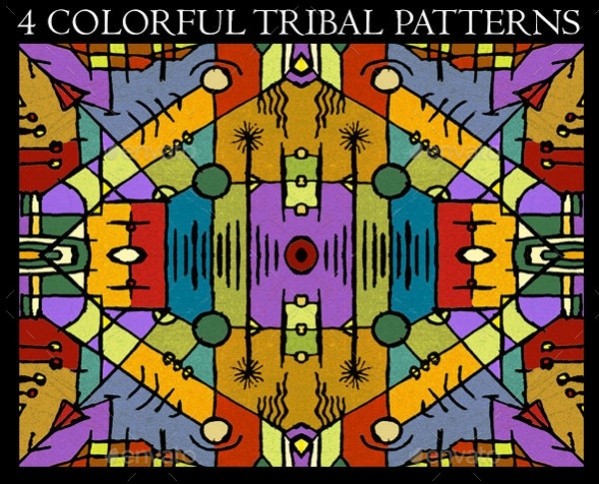 4 Colorful Tribal Background Patterns