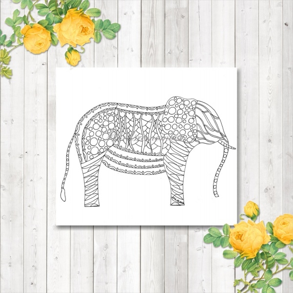 abstract elephant coloring page