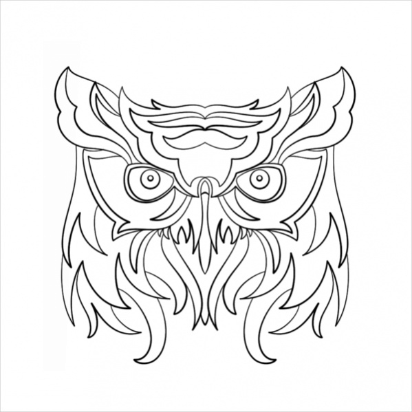 abstract owl coloring page