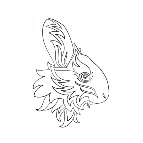 Abstract Rabbit Coloring Page