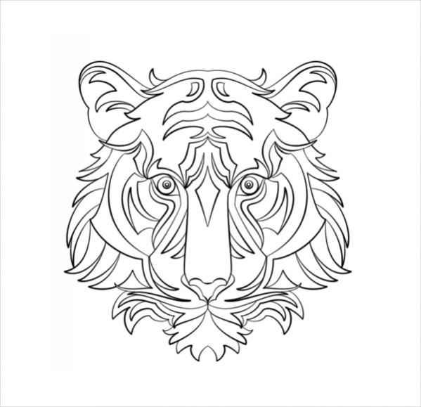 Abstract Tiger Coloring Page