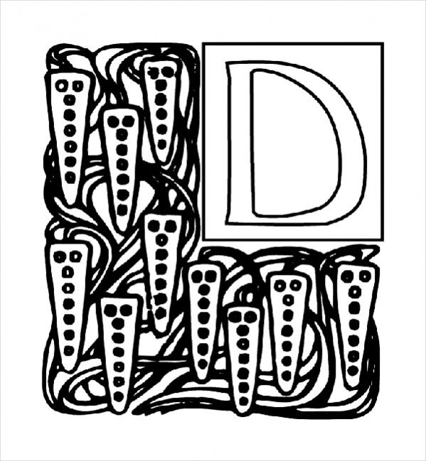 Alphabet Garden D Coloring Page