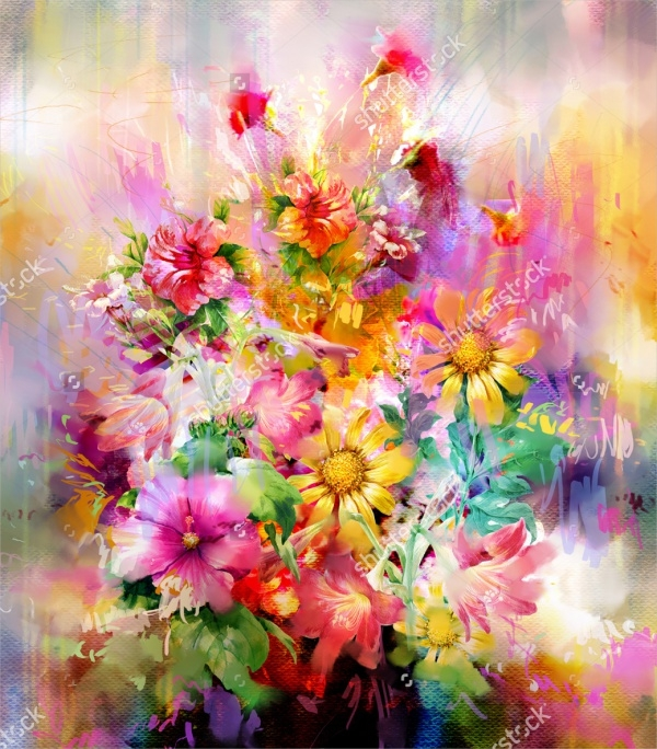 18 Flower Paintings Jpg Ai Illustrator Download