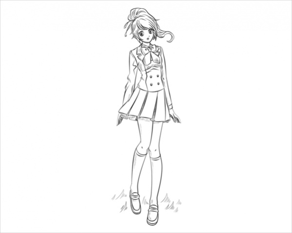 anime girl coloring page1