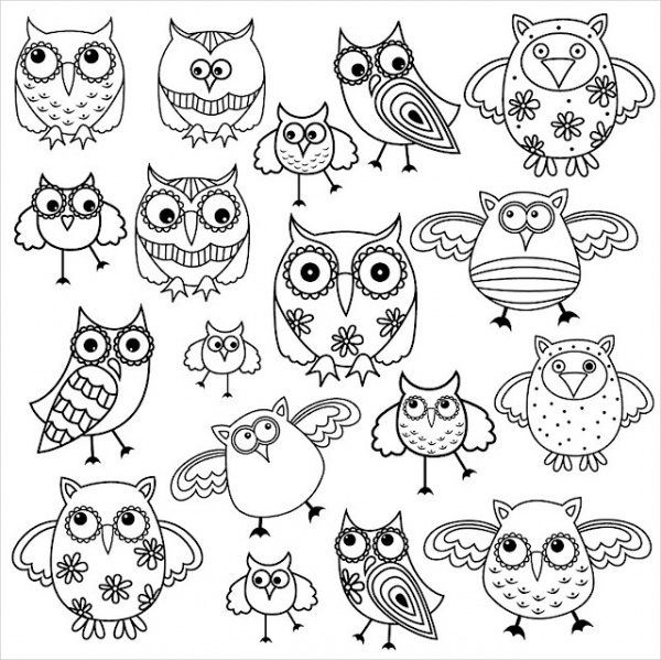 Awesome Owls Coloring Page