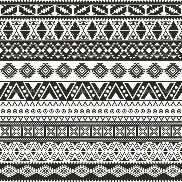 aztec black and white pattern