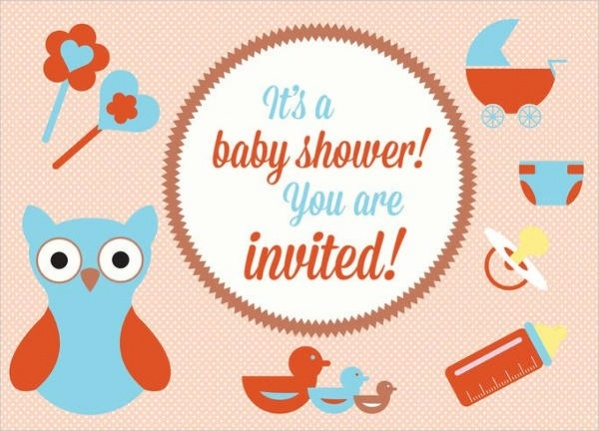 Baby Shower Card with Elements
