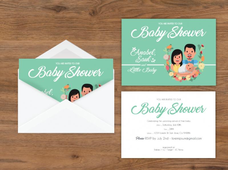 Baby Shower Envelope Card Invitation