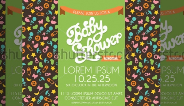Baby Shower Invitation with Baby Patterns