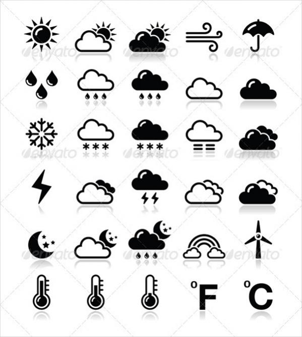 Black Weather Icons Set
