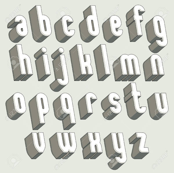 Black & White 3D Letters Set