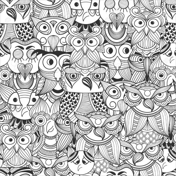 Black and White Doodle Owls Pattern