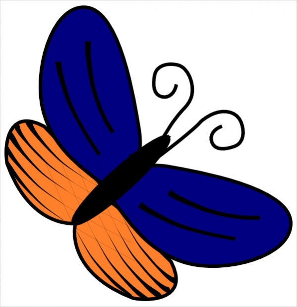 Blue and Orange Butterfly Clipart