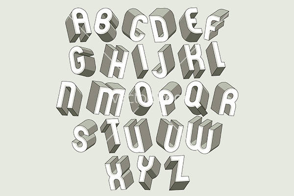 Bold and heavy 3d letters set
