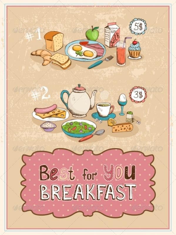 Breakfast Vintage Poster Design
