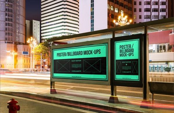 Bus Stop Billboards Poster