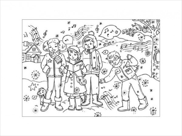 Carol singers colouring page