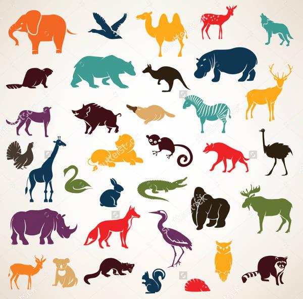 Cartoon Style Animal Silhouettes