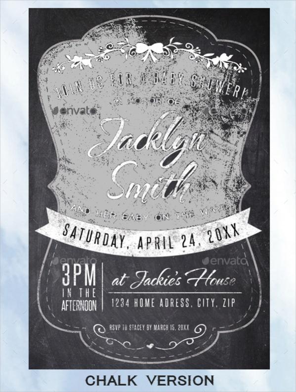 Chalk Baby Shower Invite