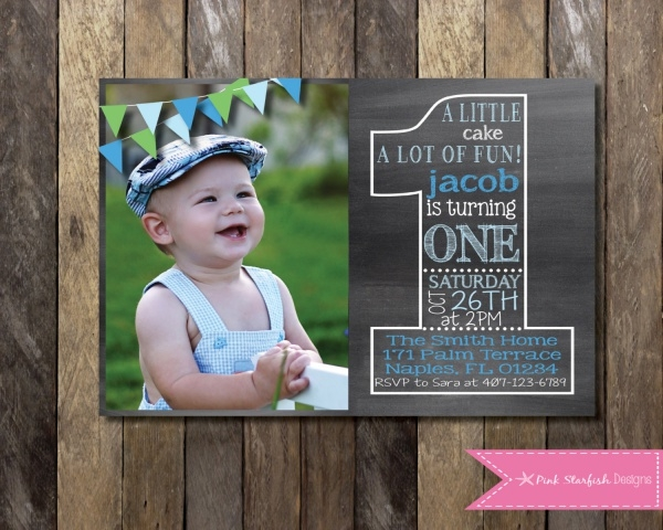 Chalkboard First Birthday Invitation