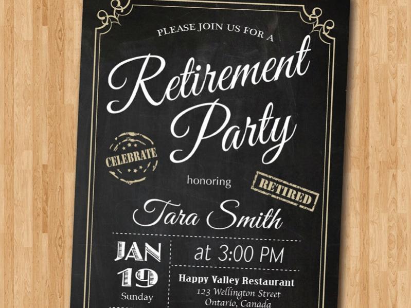 Chalkboard Retirement Invitation