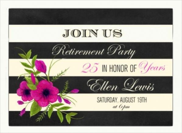 Chevron Stripes Retirement Invite