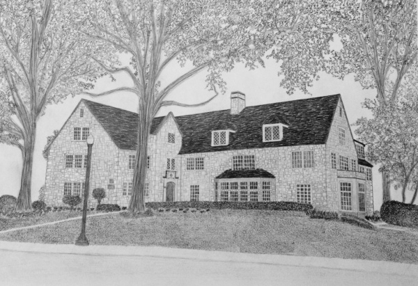 Christmas House Drawing in Pencil