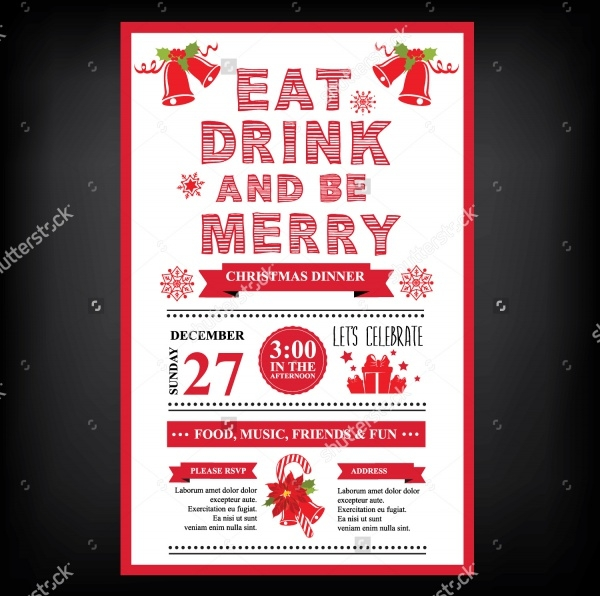 christmas restaurant menu invitation