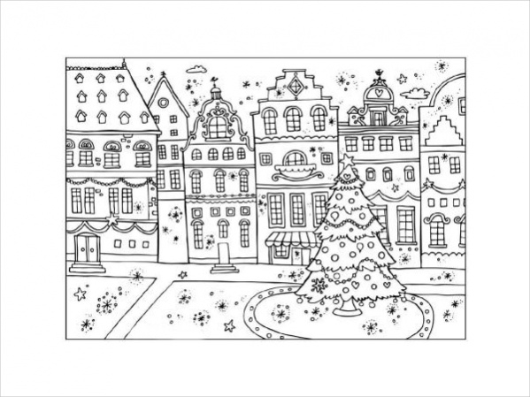 Christmas Street Coloring page
