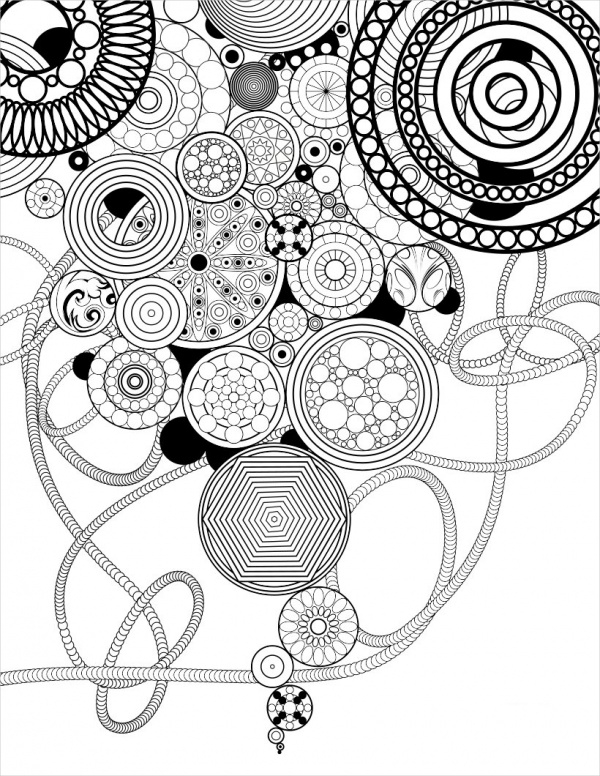 Circles and RosettesPrintable Coloring Page for Adults