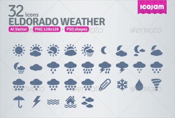 Collection of PSD Weather Icons