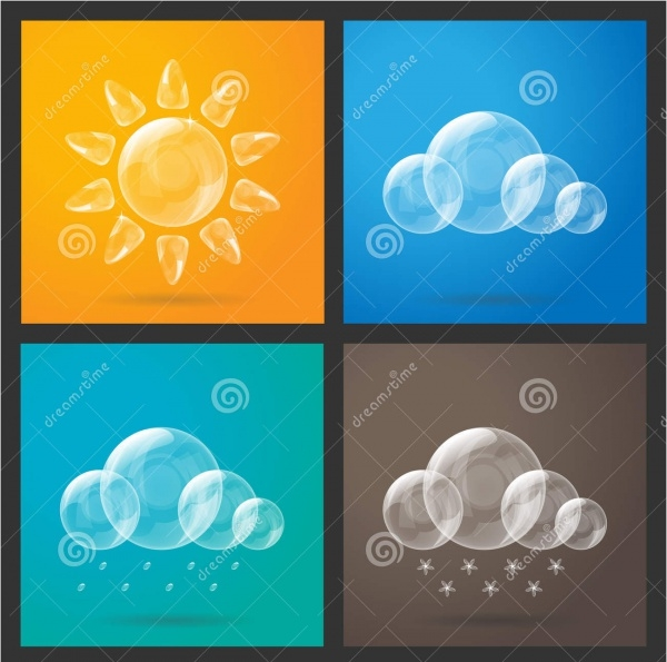 Colorful Bubble Weather Icons