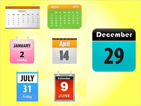 Colorful Calendar Icons