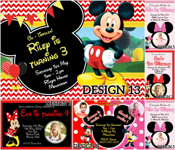 Colorful Minnie Mouse Birthday Invitation