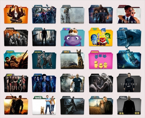 Colorful Movie Folder Icons