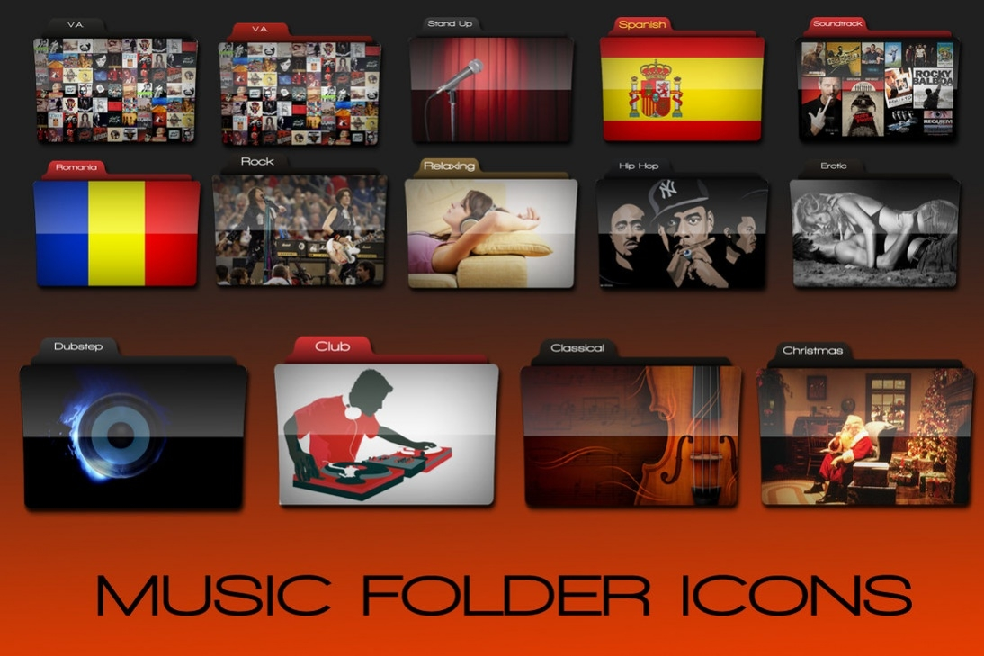 Colorful Music Folder Icons