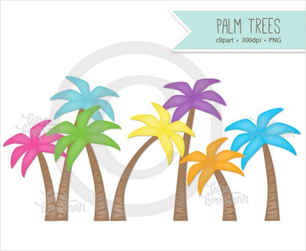 colorful palm tree clipart