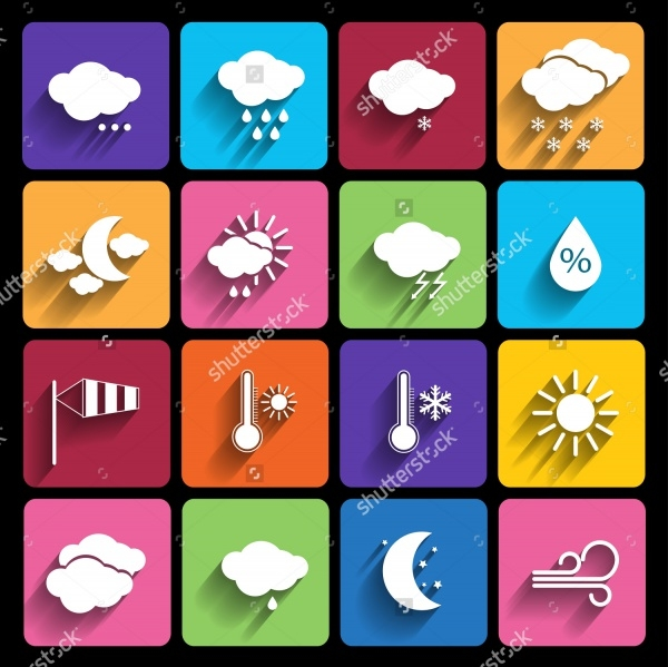 Colorful Set of Weather Icons