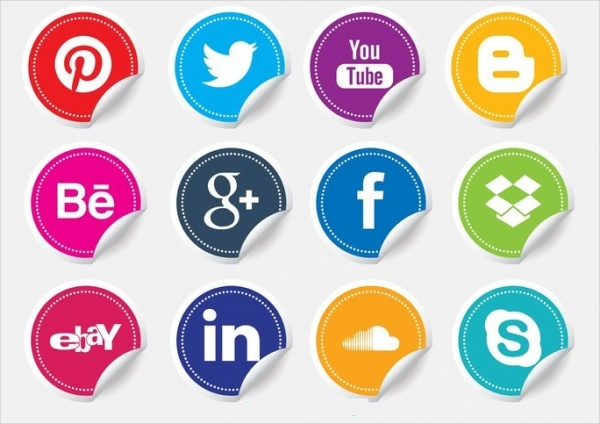 Colorful Social Media Icons Stickers