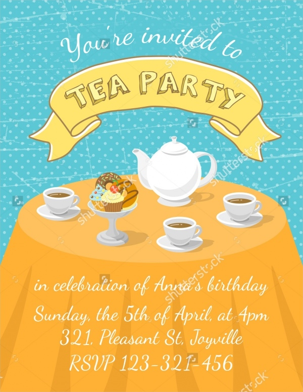 Colorful Tea Party Invitation