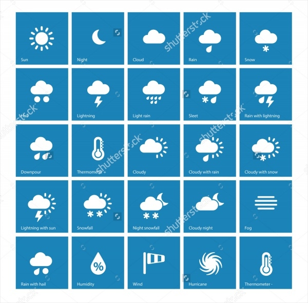 Colorful Weather icons Background