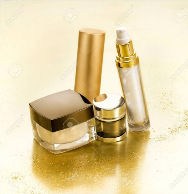 Cosmetic Packaging in Gold Background