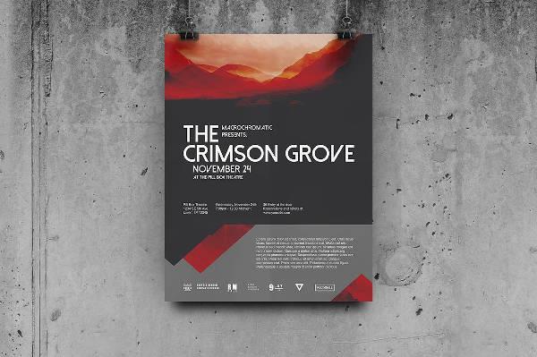 Crimson Concert Poster Vector