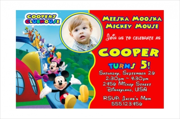 Customized Mickey Mouse Birthday Invitation