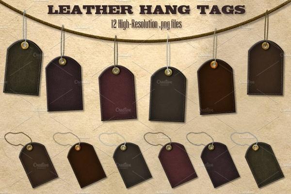 Dark leather Hang Tag