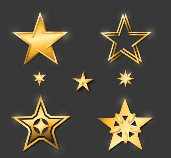 Decorative Golden Stars Shapes
