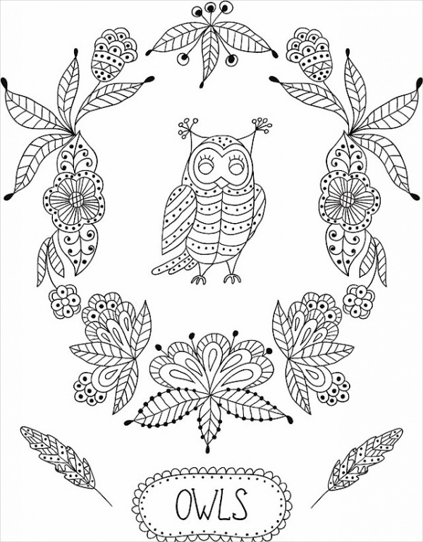 Decorative Owls Coloring Page